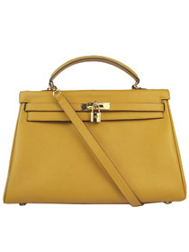 Hermes Kelly 35cm Togo Leather Bag yellow 6308