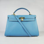 Hermes Kelly 35cm Togo Leather Bag Light blue 6308
