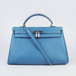 Hermes Kelly 35cm Togo Leather Bag blue 6308