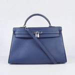 Hermes Kelly 35cm Togo Leather Bag deep blue 6308