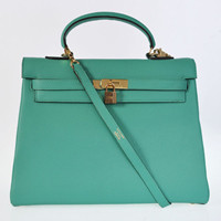Hermes Kelly 35cm Togo Leather Bag gold Green Lake