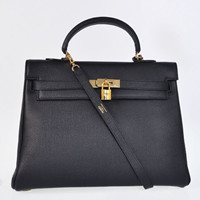 Hermes Kelly 35cm Togo Leather gold black
