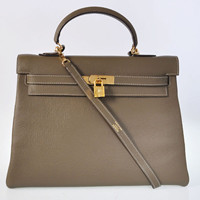 Hermes Kelly 35cm Togo Leather gold dark grey