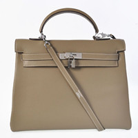 Hermes Kelly 35cm Togo Leather silver dark grey
