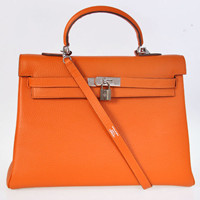 Hermes Kelly 35cm Togo Leather silver orange