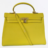 Hermes Kelly 35cm Togo Leather Bag gold Lemon yellow