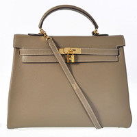 Hermes Kelly 35cm Togo Leather Bag gold dark grey
