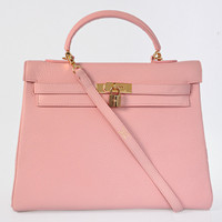 Hermes Kelly 35cm Togo Leather Bag gold pink