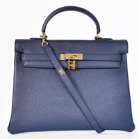 Hermes Kelly 35cm Togo Leather gold dark blue