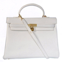Hermes Kelly 35cm Togo Leather gold white