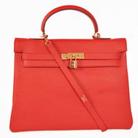 Hermes Kelly 35cm Togo Leather gold big red