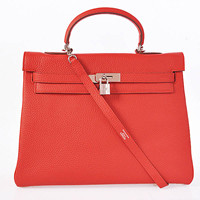 Hermes Kelly 35cm Togo Leather silver big red