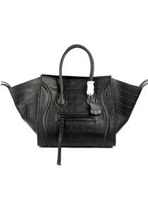 2012 Celine Luggage tote crocodile leather 88033 black