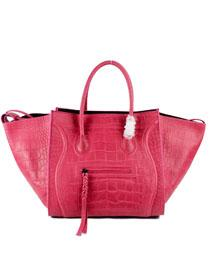 2012 Celine Luggage crocodile pattern 88033 rose red