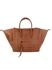 2013 Celine luggage phantom square tote crocodile leather bag 88033 light coffee