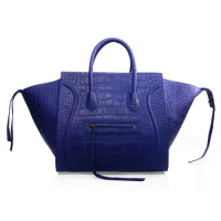 Celine Luggage Phantom Square original leather bag 3341 violet blue