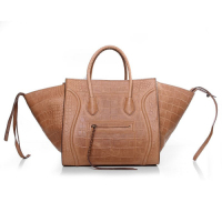 2013 Celine luggage phantom square bag crocodile leather 3341 camel color