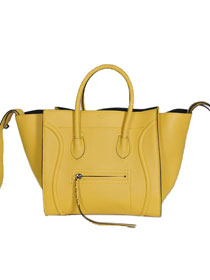 2013 Celine Luggage Phantom Square original leather Bag 3341 lemon yellow&black