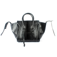 2013 Celine Luggage phantom square tote bag snake 88033 black