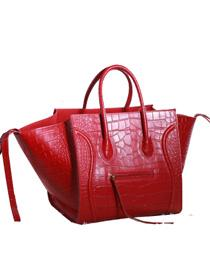 2013 Celine luggage phantom square bag crocodile 3341 big red