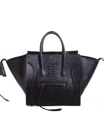 2013 Celine luggage phantom square bag snakeskin 3341 black