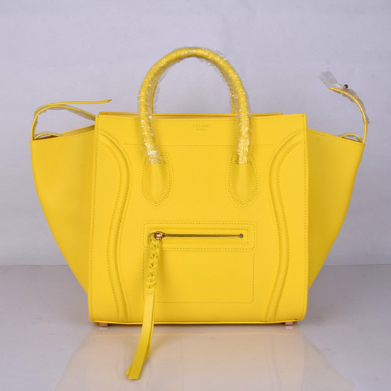 Celine Luggage Phantom Tote Bag Ferrari Leather 8803-3 Yellow