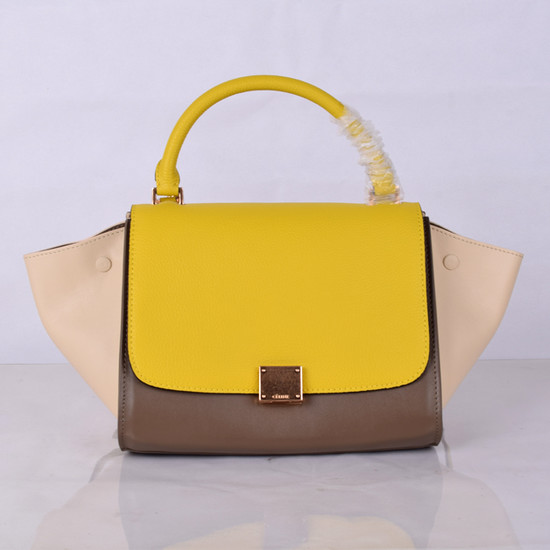 Celine Mini Trapeze Bag Original Leather 8803-8 Yellow&Khaki&White