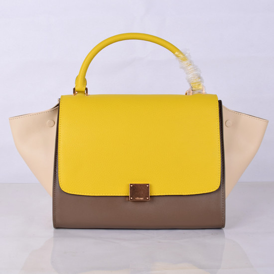 Celine Trapeze Bag Original Leather 8803-7 Yellow&Khaki&White