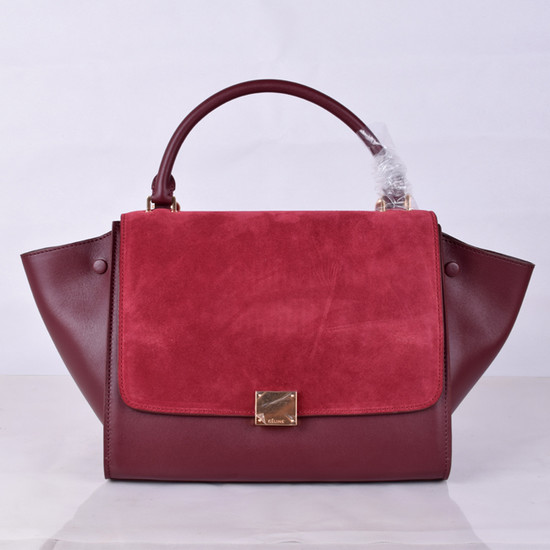 Celine Trapeze Bag Original Nubuck Leather 8803-7 Burgundy