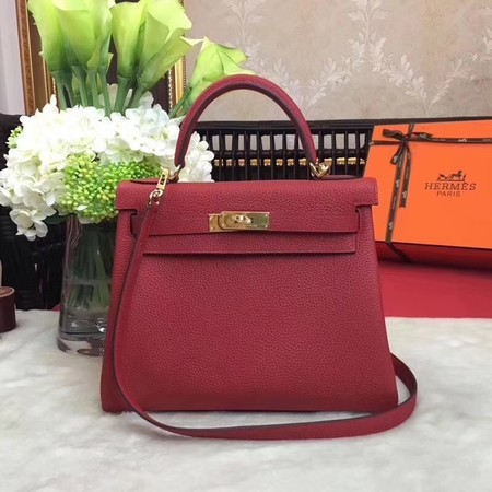 Hermes Kelly KY32 Tote Bag togo original Leather red Gold hardware