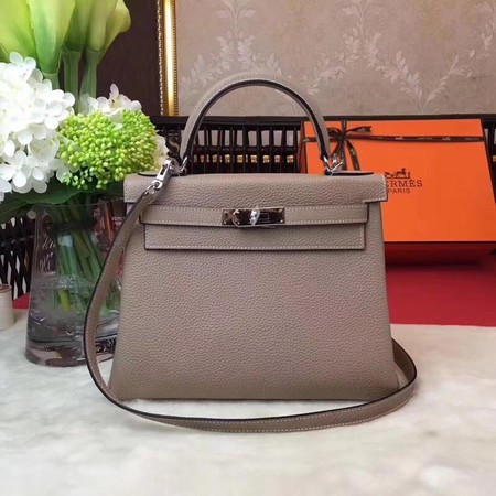 Hermes Kelly KY32 Tote Bag togo original Leather Light gray silver hardware
