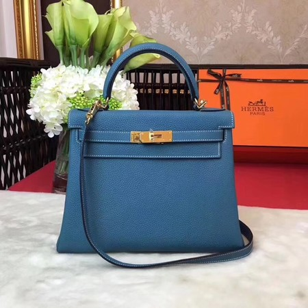 Hermes Kelly KY32 Tote Bag togo original Leather blue Gold hardware