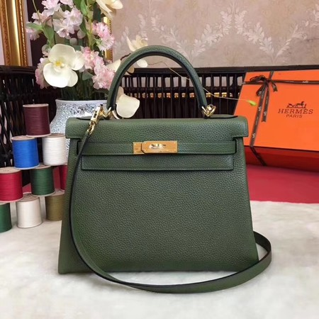 Hermes Kelly KY32 Tote Bag togo original Leather green Gold hardware
