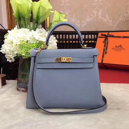 Hermes Kelly KY32 Tote Bag togo original Leather Light blue Gold hardware