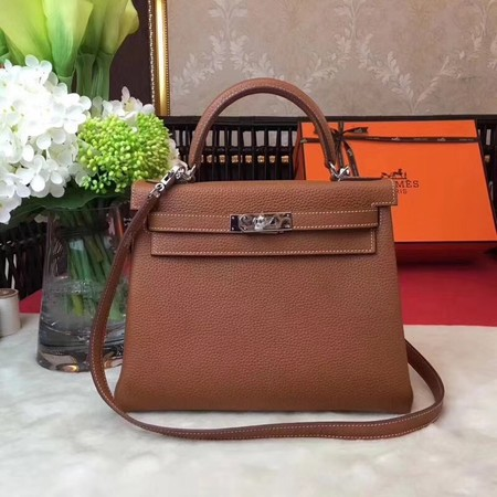 Hermes Kelly KY32 Tote Bag togo original Leather Light brown silver hardware