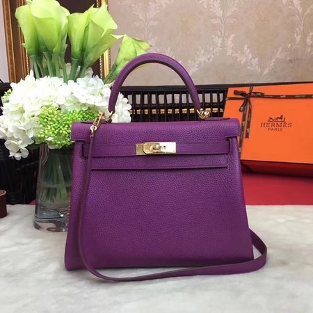 Hermes Kelly KY32 Tote Bag togo original Leather purple Gold hardware
