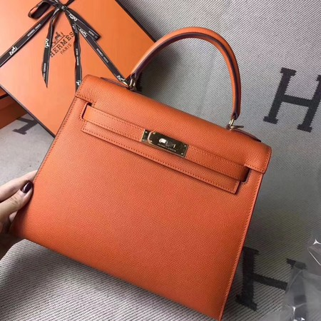 Hermes original epsom leather kelly Tote Bag KL2832 orange