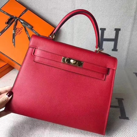 Hermes original epsom leather kelly Tote Bag KL2832 red