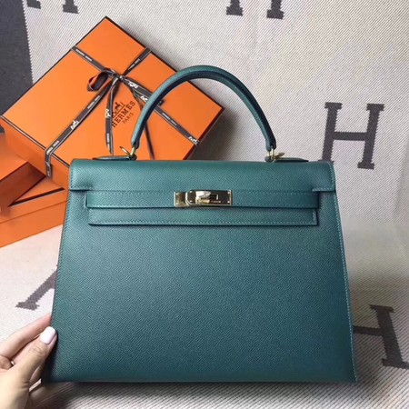 Hermes original epsom leather kelly Tote Bag KL2832 green