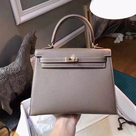 Hermes original epsom leather kelly Tote Bag KL2832 grey