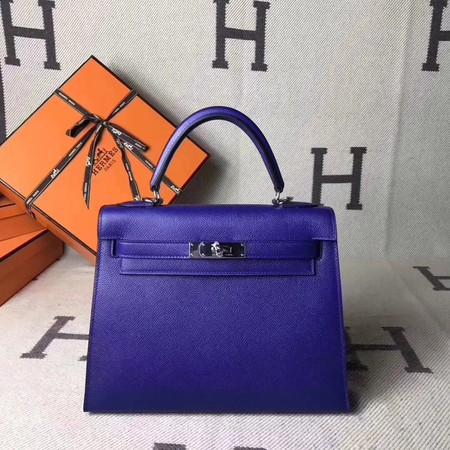 Hermes original epsom leather kelly Tote Bag KL2832 blue