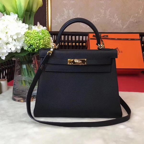 Hermes Kelly 32cm Shoulder Bag TOGO Leather KY32 Black Gold