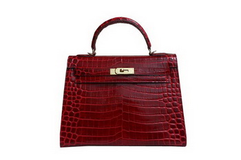 Hermes Kelly 32cm Shoulder Bag Red Croco Patent Leather K32 Gold