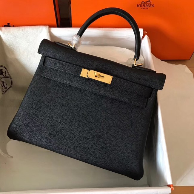 Hermes original Togo leather kelly bag KL320 black