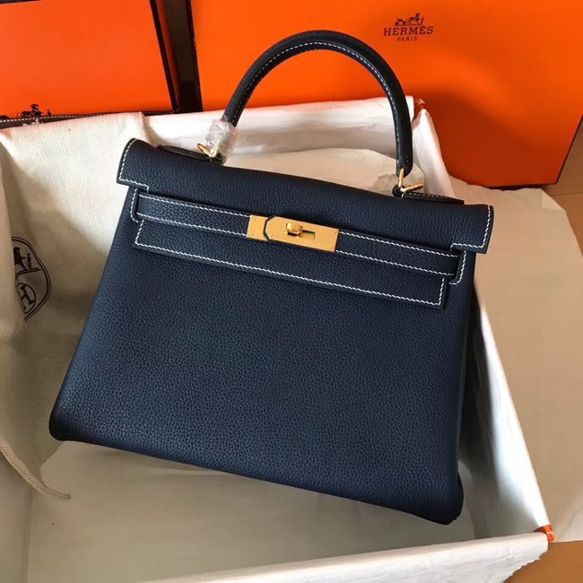 Hermes original Togo leather kelly bag KL320 dark blue