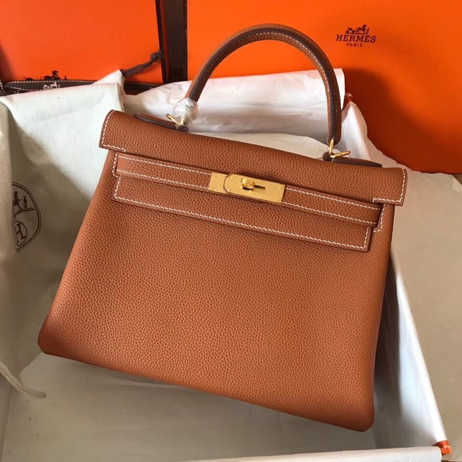 Hermes original Togo leather kelly bag KL320 brown