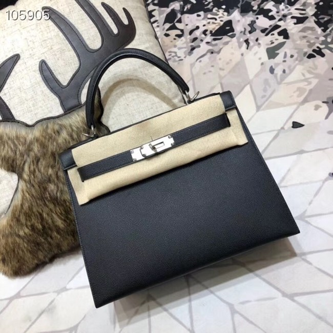 Hermes original Kelly Epsom Leather KL32 black