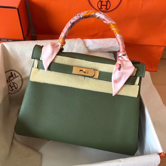 Hermes original Togo leather kelly bag KL320 Blackish green