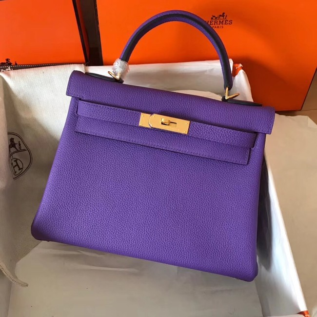 Hermes original Togo leather kelly bag KL320 purple