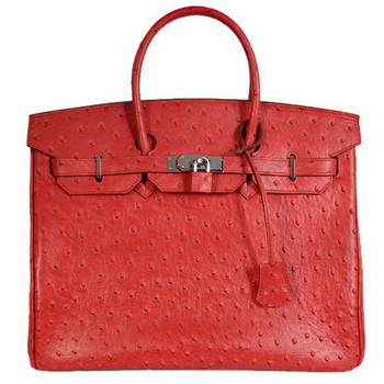 Hermes Birkin 35CM Tote Bags Ostrich Togo Leather Red Silver